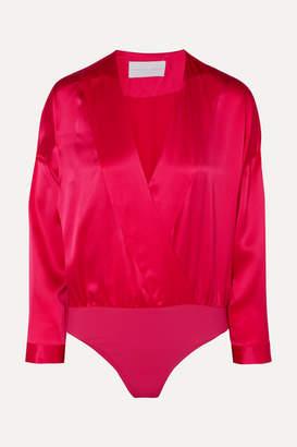 Mason by Michelle Mason Wrap-effect Draped Silk-charmeuse Thong Bodysuit - Pink