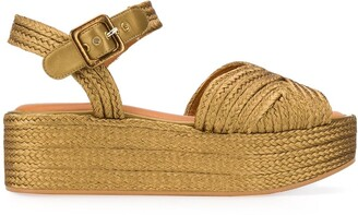 Clergerie Metallic Woven Platform Leather Sandals