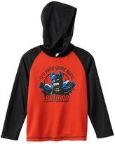 Lego Boys 4-7x DC Comics Batman Hooded Thermal Raglan Tee