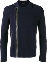 Z Zegna asymmetric zip-up jacket - men - Cotton/Lamb Skin - XL