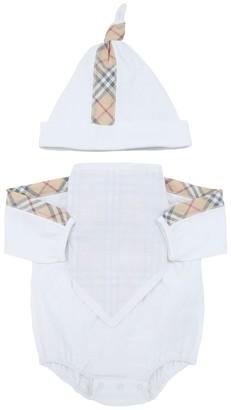 Burberry Check Cotton Interlock Romper, Bib & Hat
