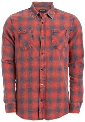 Buffalo David Bitton Men's Button Down Shirts Dark - Dark Garnet Plaid Raw-Edge Sarmor Long-Sleeve Button-Up - Men