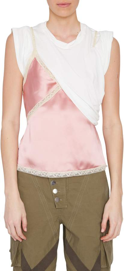 Alexander Wang Hybrid T-Shirt with Lace Cami in White and Pink