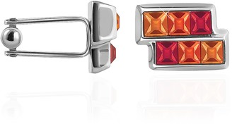 Forzieri Orange & Red Crystal Cufflinks