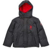 U.S. Polo Assn. Black & Red Puffer Coat - Toddler & Boys