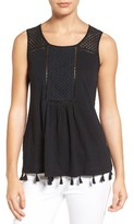 Petite Women's Caslon Tassel Trim Embroidered Tank