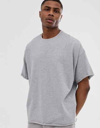 Asos DESIGN heavyweight oversized fit t-shirt with crew neck and raw edges in gray marl