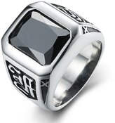 BOHO Jewelry Mens Classic Band Vintage Cubic Zirconia Stainless Steel Ring,Black Silver