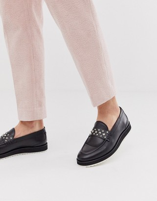 House of Hounds bowie stud loafers in black hi-shine leather