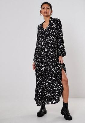 Missguided Tall Black Dalmatian Tiered Maxi Smock Dress
