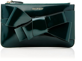 DELPOZO M'O Exclusive Bow-Embellished Patent-Leather Clutch
