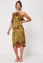 Missguided Black Floral Print Frill Detail Midi Dress