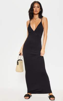 PrettyLittleThing Black Jersey Plunge Strappy Maxi Dress