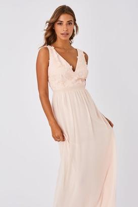 Little Mistress Mariska Bridesmaid Nude Floral Applique Maxi Dress