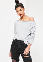 Missguided Raw Edge Cropped Sweatshirt Grey