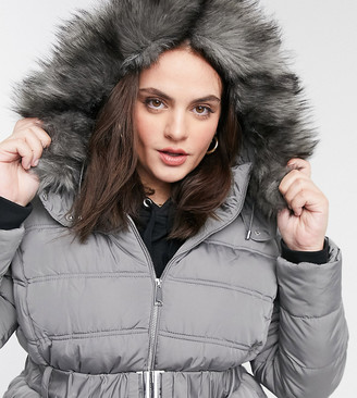 New Look Plus New Look Curve faux-fur hooded puffer jacket in grey