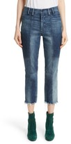 Women's Colovos Frayed Seamed Crop Jeans