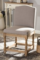 Wholesale Interiors Paige French Vintage Cottage Weathered Oak Finish Wood and Beige Fabric Upholstered Dining Chair