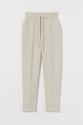 H&M Linen-blend Pull-on Pants - Beige