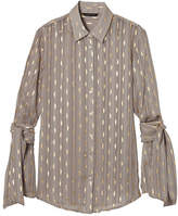 Banana Republic Dillon-Fit Foil Stripe Tie-Sleeve Shirt