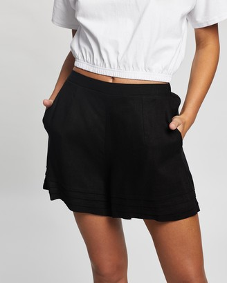 Atmos & Here Atmos&Here - Women's Black High-Waisted - Sarah Linen Blend Shorts - Size 6 at The Iconic