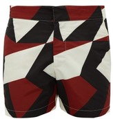 Frescobol Carioca Modernist-print Swim Shorts - Mens - Burgundy Multi