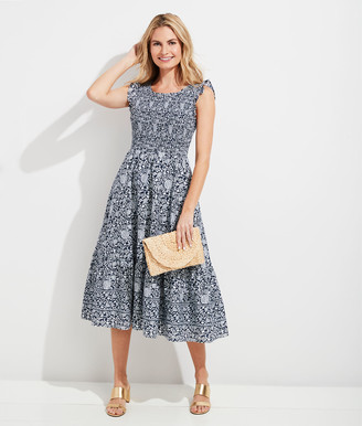 Vineyard Vines Vine Floral Smocked Midi Dress