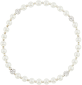 Accessorize Sterling Silver Mini Pearl & Pave Ball Stretch Bracelet