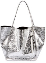 Proenza Schouler Extra-Large Crackled Metallic Tote Bag, Gray