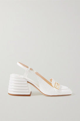 Fendi Croc-effect Leather Slingback Pumps - White