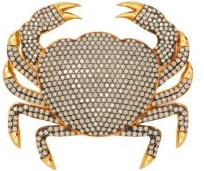 BEGÜM KHAN Crab Opal-crystal & 24kt Gold-plated Brooch - White