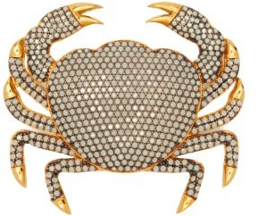 BEGÜM KHAN Crab Opal-crystal & 24kt Gold-plated Brooch - Womens - White