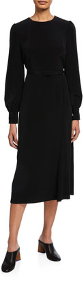 Co Tifa Stretch Crepe Long-Sleeve Belted Dress