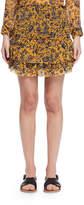 Isabel Marant Brinley Tiered Floral Silk Skirt, Yellow