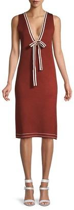 Avantlook Deep V-Neck Wool-Blend Dress