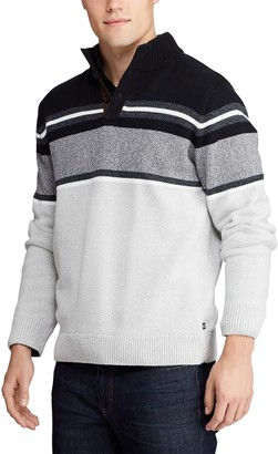 Chaps Men's Striped Button Mock Sweater