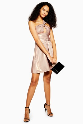 Topshop Foil Twist Shoulder Mini Dress
