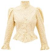 Batsheva Grace High-neck Ruffled Cotton Blouse - Womens - Yellow