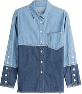 Sjyp Two-Tone Denim Shirt
