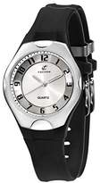 Calypso Unisex Quartz Watch with Silver Dial Analogue Display and Black Plastic Strap K5162/1