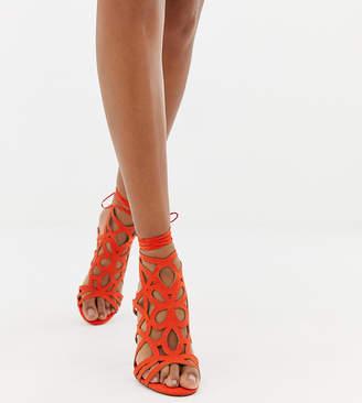 Miss Selfridge caged heeled sandals in coral-Black