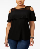 INC International Concepts Plus Size Illusion Cold-Shoulder Top, Created for Macy's