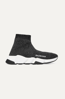 Balenciaga Speed Logo-print Metallic Stretch-knit High-top Sneakers - Black