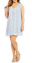 Blu Pepper Plus Sleeveless Embroidered Woven Dress