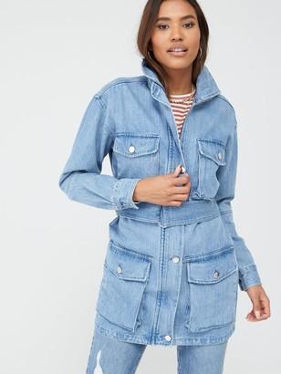 Very Denim Belted Utility Jacket - Mid Wash