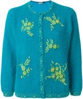 Prada angora and silk floral embroidered cardigan