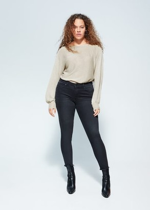MANGO Violeta BY Metallic thread sweater sand - S - Plus sizes