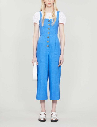 Whistles Hadley button-through linen jumpsuit