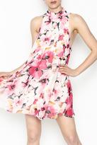 Olivaceous Floral Highneck Dress