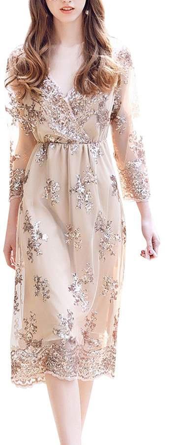 78bd38c107 Long Sleeve Gold Party Dress - ShopStyle Canada